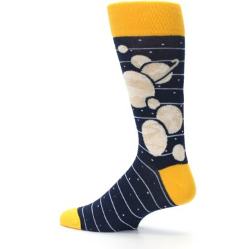 Image of Navy Beige Solar System Men's Dress Socks (side-2-13)