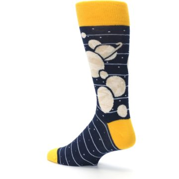 Image of Navy Beige Solar System Men's Dress Socks (side-2-back-14)