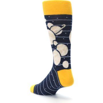 Image of Navy Beige Solar System Men's Dress Socks (side-2-back-15)