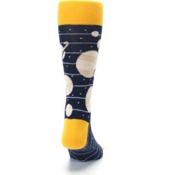 Image of Navy Beige Solar System Men's Dress Socks (back-19)