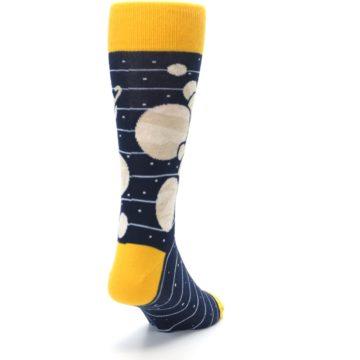Image of Navy Beige Solar System Men's Dress Socks (side-1-back-20)