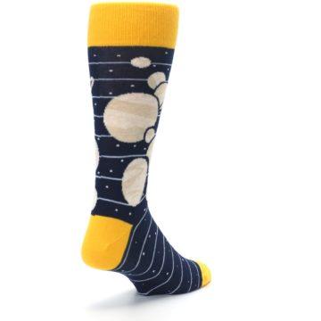 Image of Navy Beige Solar System Men's Dress Socks (side-1-back-21)