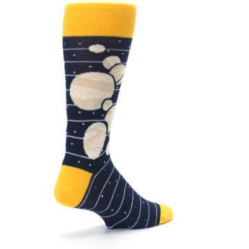 Image of Navy Beige Solar System Men's Dress Socks (side-1-back-22)