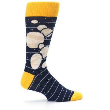 Image of Navy Beige Solar System Men's Dress Socks (side-1-24)