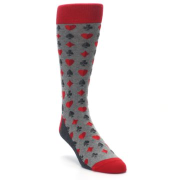 Image of Gray Red Deck of Card Suits Men's Dress Socks (side-1-front-02)