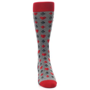 Image of Gray Red Deck of Card Suits Men's Dress Socks (front-04)