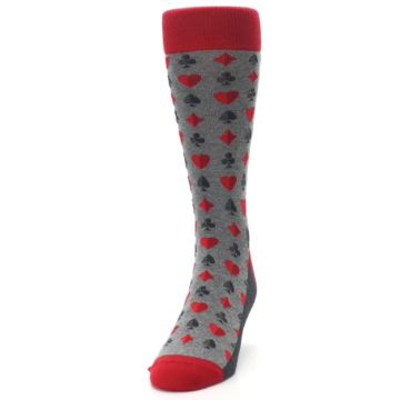 Image of Gray Red Deck of Card Suits Men's Dress Socks (side-2-front-06)