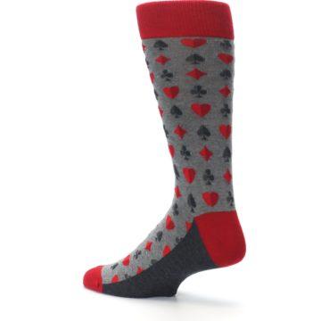 Image of Gray Red Deck of Card Suits Men's Dress Socks (side-2-back-14)