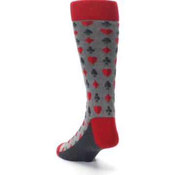 Image of Gray Red Deck of Card Suits Men's Dress Socks (side-2-back-16)