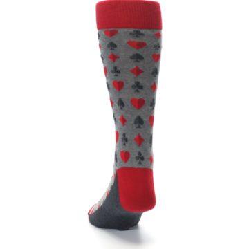 Image of Gray Red Deck of Card Suits Men's Dress Socks (back-17)
