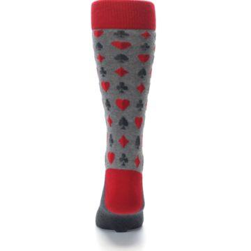 Image of Gray Red Deck of Card Suits Men's Dress Socks (back-18)