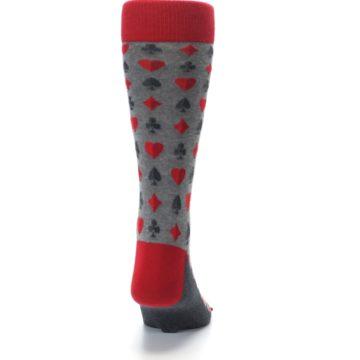 Image of Gray Red Deck of Card Suits Men's Dress Socks (back-19)