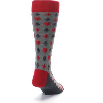 Image of Gray Red Deck of Card Suits Men's Dress Socks (side-1-back-20)
