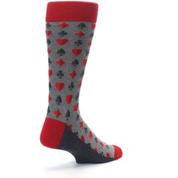 Image of Gray Red Deck of Card Suits Men's Dress Socks (side-1-back-22)