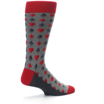 Image of Gray Red Deck of Card Suits Men's Dress Socks (side-1-23)
