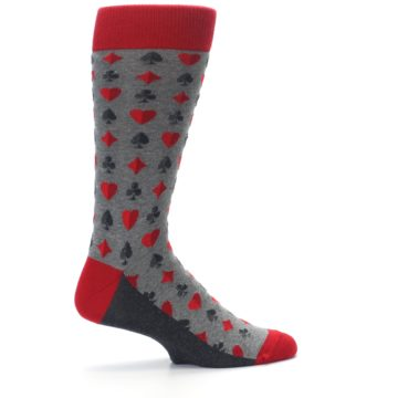 Image of Gray Red Deck of Card Suits Men's Dress Socks (side-1-24)
