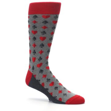 Image of Gray Red Deck of Card Suits Men's Dress Socks (side-1-26)