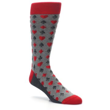 Image of Gray Red Deck of Card Suits Men's Dress Socks (side-1-27)