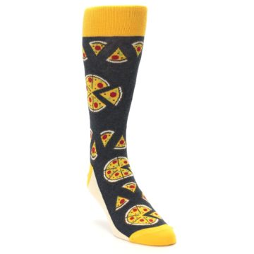 Image of Gray Yellow Pizza Men's Dress Socks (side-1-front-02)