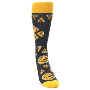 Image of Gray Yellow Pizza Men's Dress Socks (side-1-front-03)
