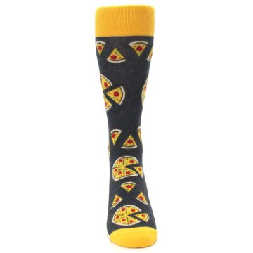 Image of Gray Yellow Pizza Men's Dress Socks (front-04)