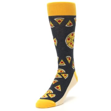 Image of Gray Yellow Pizza Men's Dress Socks (side-2-front-07)