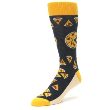 Image of Gray Yellow Pizza Men's Dress Socks (side-2-front-08)