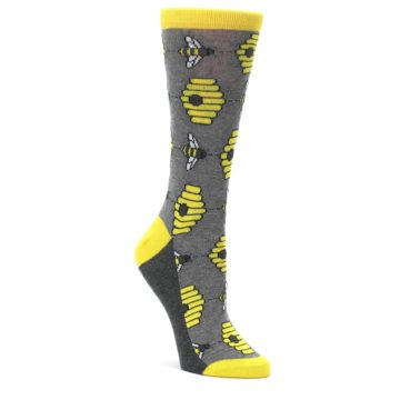 Gray-Yellow-Honey-Bees-Womens-Dress-Socks-Statement-Sockwear