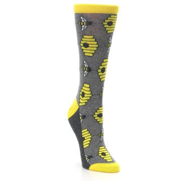 Image of Gray Yellow Honey Bees Women's Dress Socks (side-1-front-02)