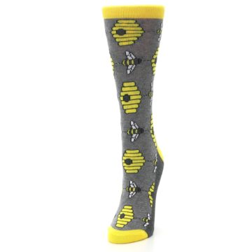 Image of Gray Yellow Honey Bees Women's Dress Socks (side-2-front-07)