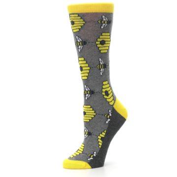 Image of Gray Yellow Honey Bees Women's Dress Socks (side-2-10)