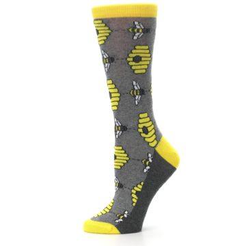Image of Gray Yellow Honey Bees Women's Dress Socks (side-2-11)