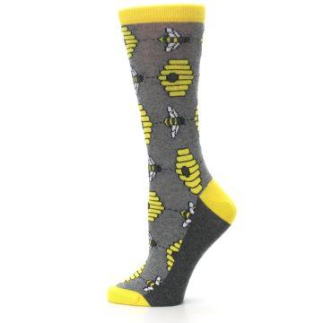 Image of Gray Yellow Honey Bees Women's Dress Socks (side-2-12)