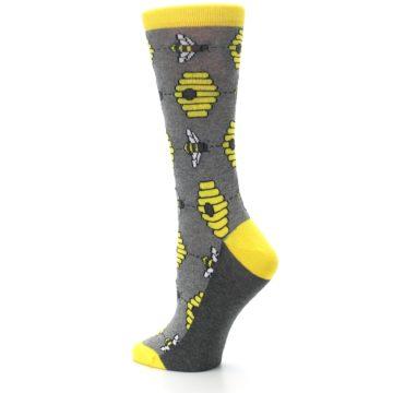 Image of Gray Yellow Honey Bees Women's Dress Socks (side-2-back-14)