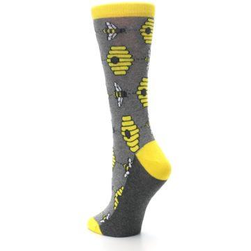 Image of Gray Yellow Honey Bees Women's Dress Socks (side-2-back-15)