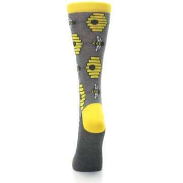 Image of Gray Yellow Honey Bees Women's Dress Socks (back-18)