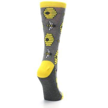 Image of Gray Yellow Honey Bees Women's Dress Socks (side-1-back-21)