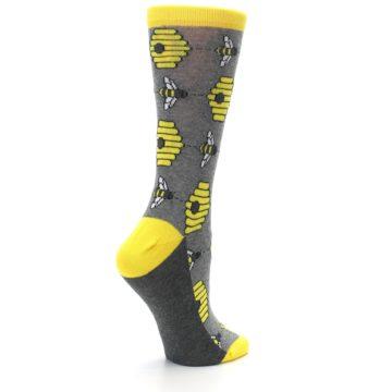 Image of Gray Yellow Honey Bees Women's Dress Socks (side-1-23)