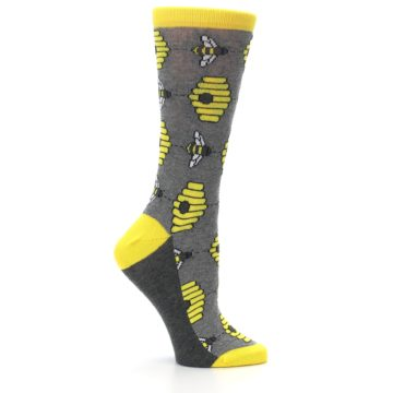 Image of Gray Yellow Honey Bees Women's Dress Socks (side-1-25)