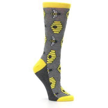 Image of Gray Yellow Honey Bees Women's Dress Socks (side-1-26)
