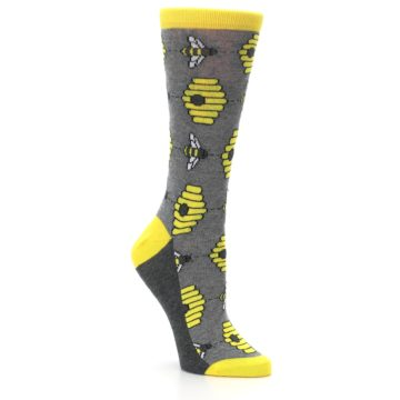 Image of Gray Yellow Honey Bees Women's Dress Socks (side-1-27)