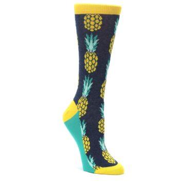 Navy-Yellow-Pineapple-Womens-Dress-Socks-Statement-Sockwear