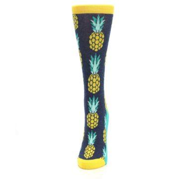Image of Navy Yellow Pineapple Women's Dress Socks (side-2-front-06)