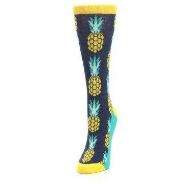 Image of Navy Yellow Pineapple Women's Dress Socks (side-2-front-07)