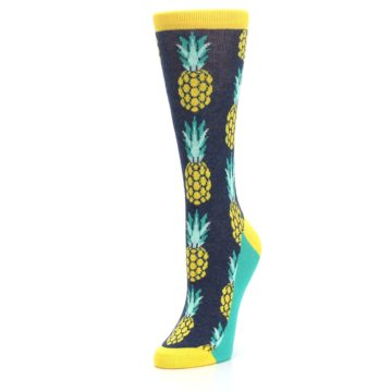 Image of Navy Yellow Pineapple Women's Dress Socks (side-2-front-08)