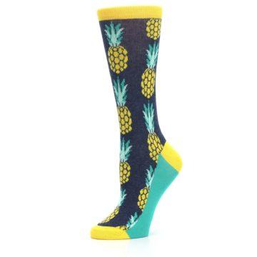 Image of Navy Yellow Pineapple Women's Dress Socks (side-2-10)