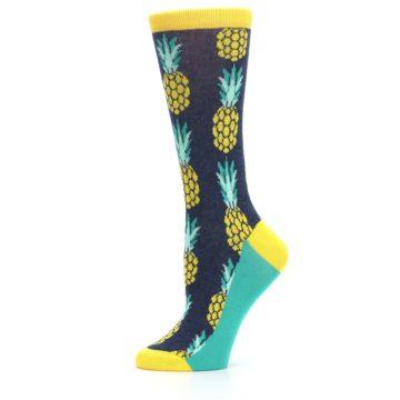 Image of Navy Yellow Pineapple Women's Dress Socks (side-2-11)