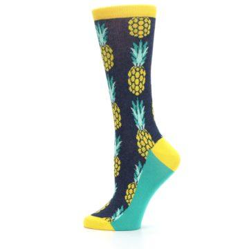 Image of Navy Yellow Pineapple Women's Dress Socks (side-2-12)