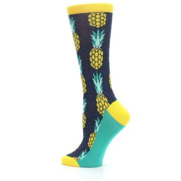 Image of Navy Yellow Pineapple Women's Dress Socks (side-2-13)