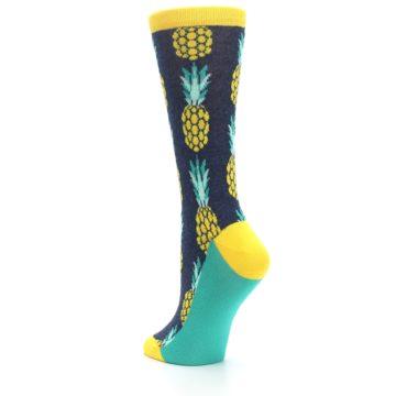 Image of Navy Yellow Pineapple Women's Dress Socks (side-2-back-15)